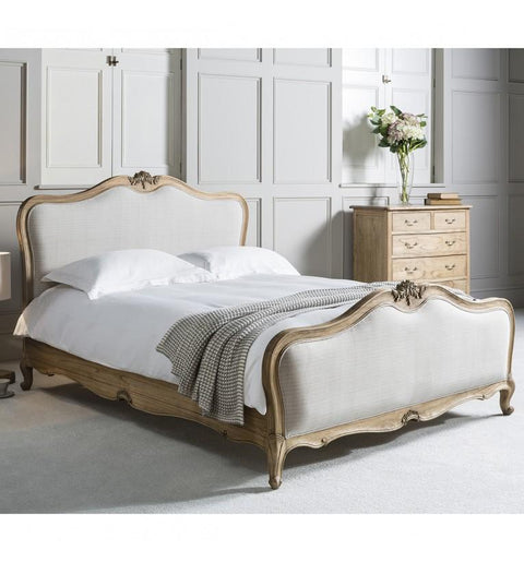 Linen Upholstered Bed in Natural or Chalk