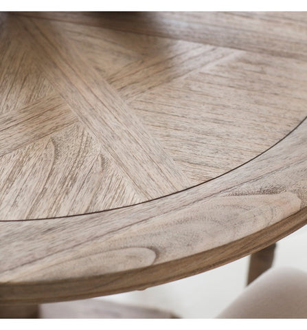 Brushed Mindi Wood Round Extending Dining Table
