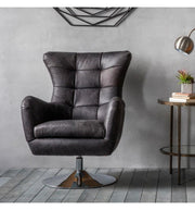 Swivel Chair in Antique Ebony or Tan Leather