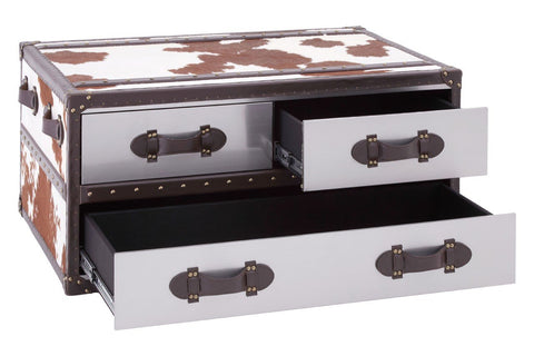 Cowhide Coffee Table - Brown/White