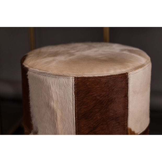 Brown/White Genuine Cowhide Ottoman