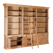 American Oak 3 Section Bookcase & Ladder