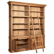 American Oak 2 Section Bookcase with Ladder