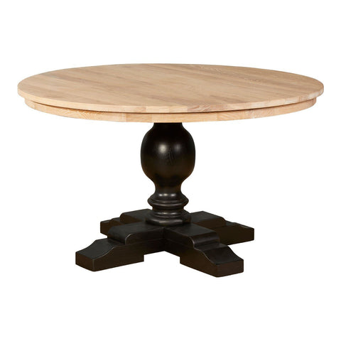 American Oak & Black Base Dining Table