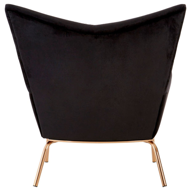 Novara Black Velvet/Rose Gold Wingback Chair