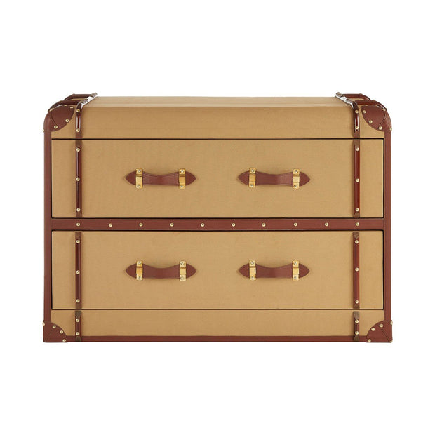 Canvas & Leather 2 Drawer Trunk Cabinet