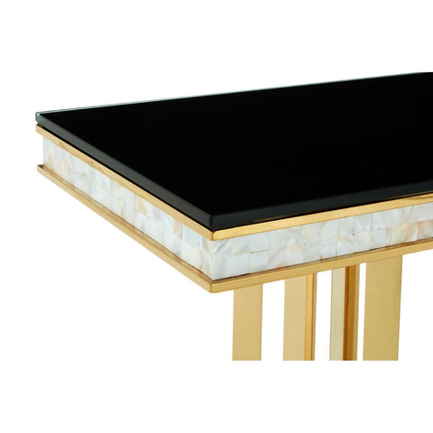 Gold Finish Console Table with Black Top