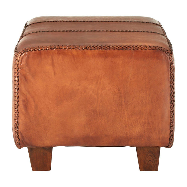 Inca Antique Leather Bench - Brown