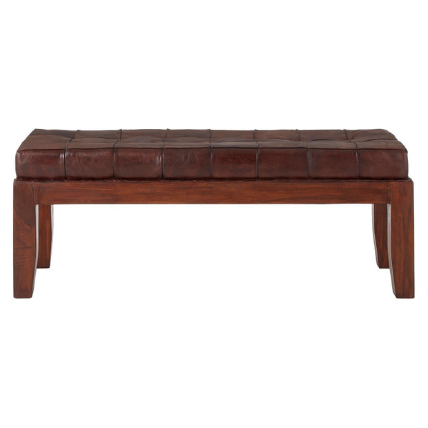 Inca Antique Leather Stitch Bench - Brown