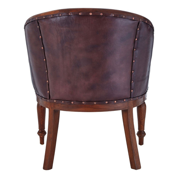 Inca Antique Leather Carved Chair - Brown