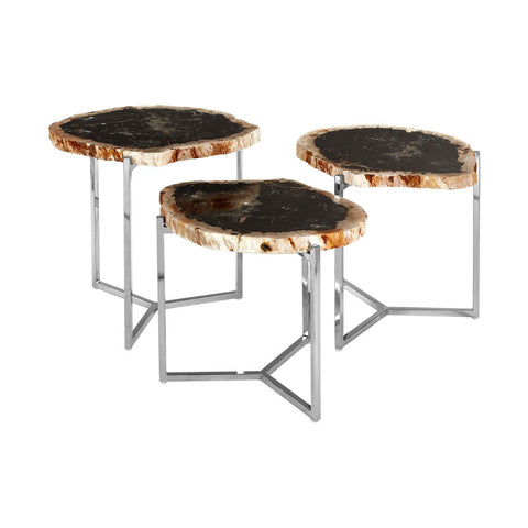 Relic Set of 3 Petrified Wood Tables