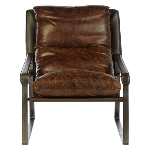 Hoxton Genuine Leather Lounge Chair - Brown