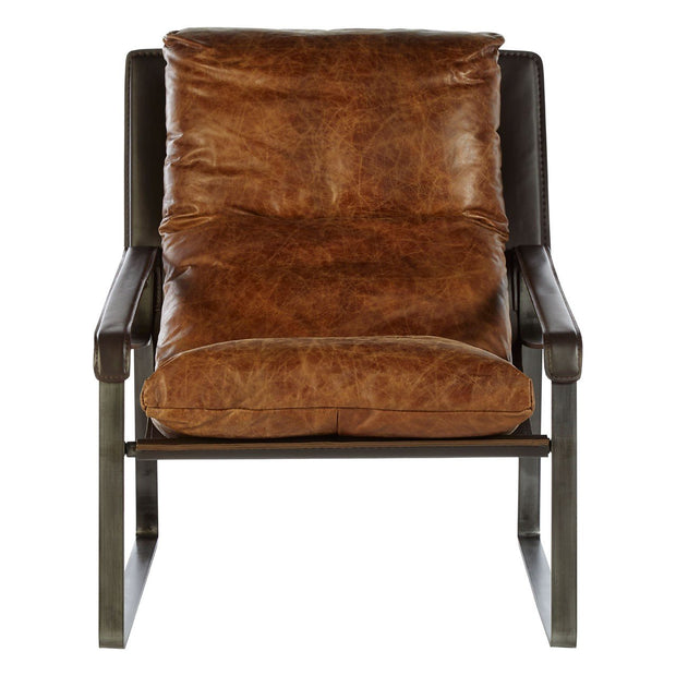 Hoxton Genuine Leather Lounge Chair - Light Brown