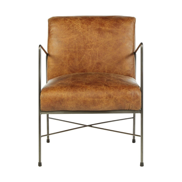 Hoxton Light Leather Dining Chair - Brown - Set of 2