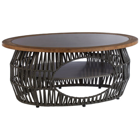 Grey Cotton Rope Oval Coffee Table