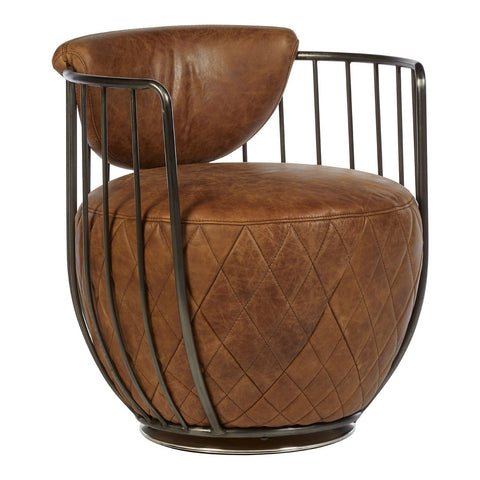 Leather Horizon Swivel Chair - Light Brown
