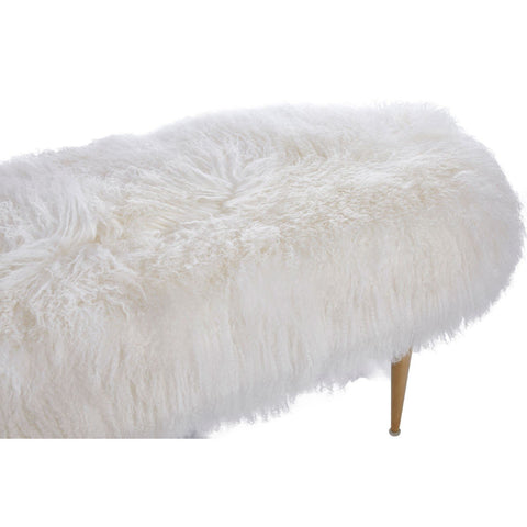 Marlow White Sheepskin Bench