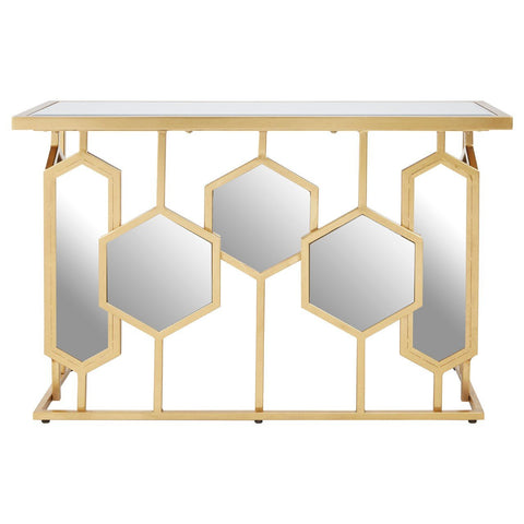 Geometric Mirrored Console Table