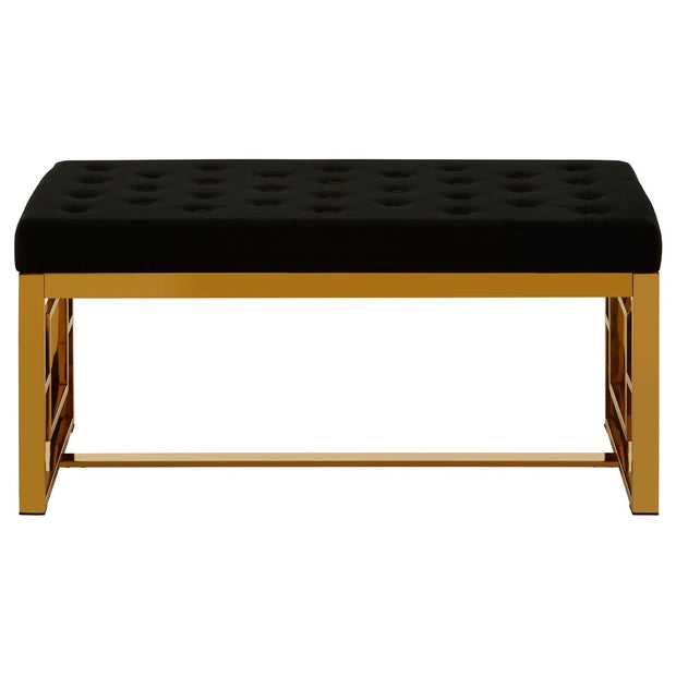 Allure Velvet Bench - Black