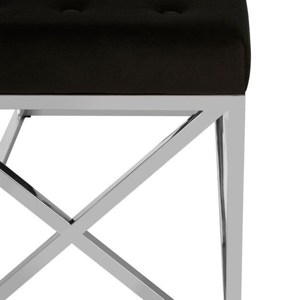 Allure Tufted Seat / Silver Finish Bench - Black