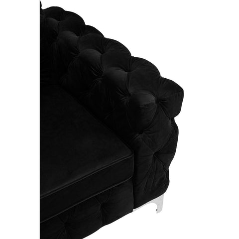 Chesterfield Chair in Black Velvet Upholstery