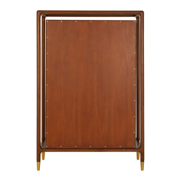 Walnut Wood Cabinet with Brass Detail