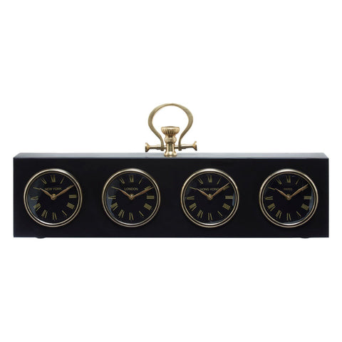 Black & Gold Time Zone Clock