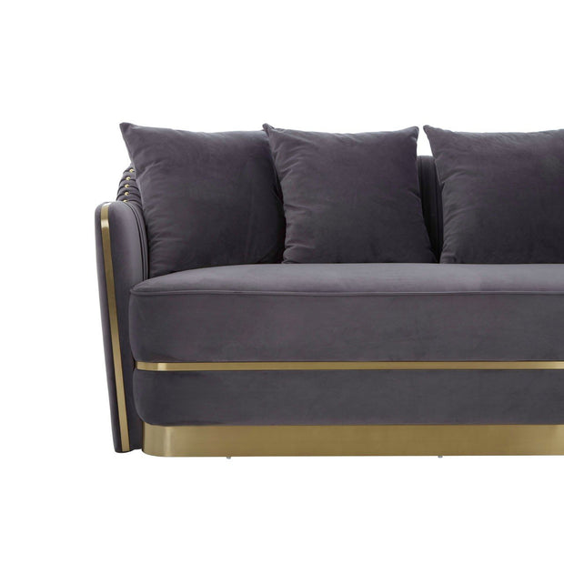 Grey Pleated Velvet Sofa with Gold Detail