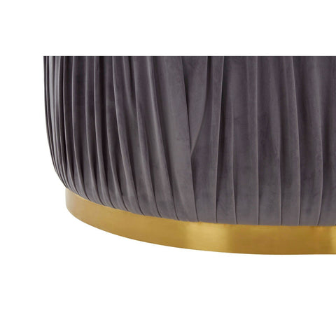 Round Shea Grey Pleated Footstool Ottoman