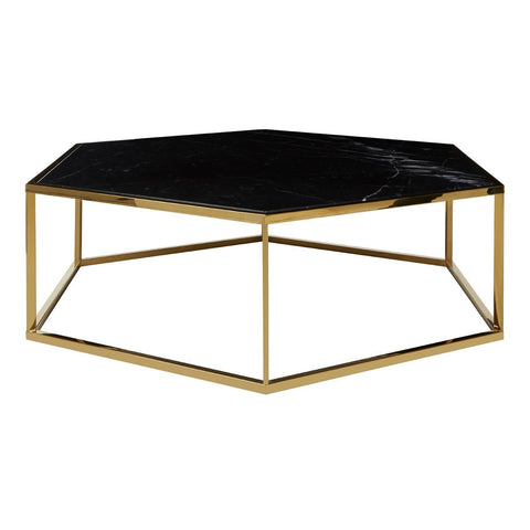 Hexagonal Marble Coffee Table - Black & Gold