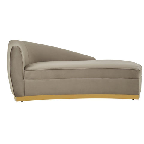 Velvet Left Arm Chaise Longue - Grey