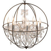 Round Orb Chandelier with Glamorous Industrial Touch