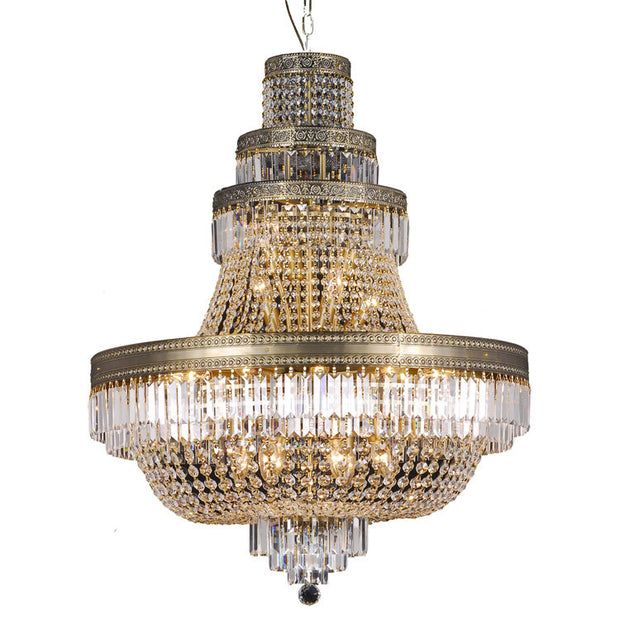 Large Basket Chandelier with 4 Tiers - Brass - Allissias Attic  &  Vintage French Style