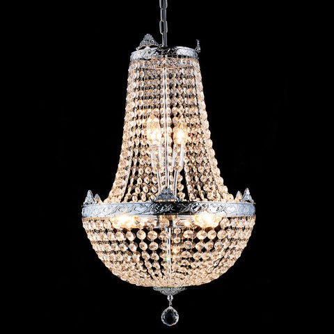 Silver Metal & Crystal Basket Chandelier - Allissias Attic  &  Vintage French Style