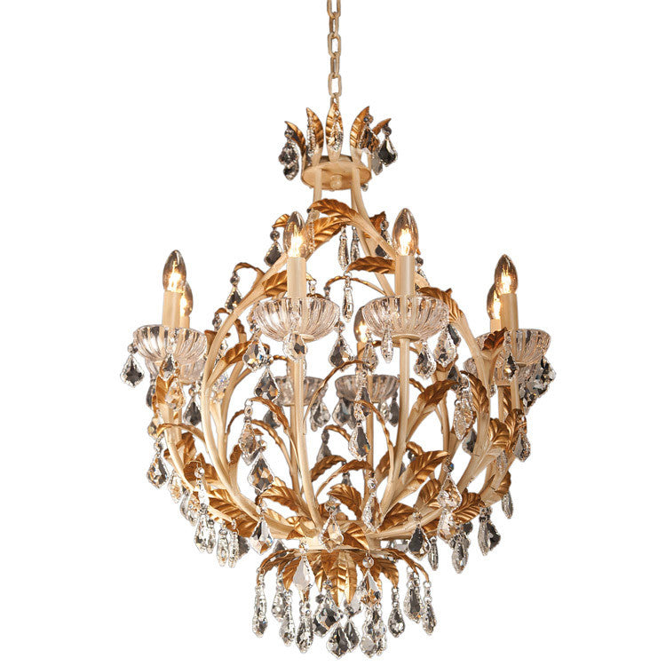 Pretty Gold/Bronze Leaf Chandelier - Allissias Attic  &  Vintage French Style
