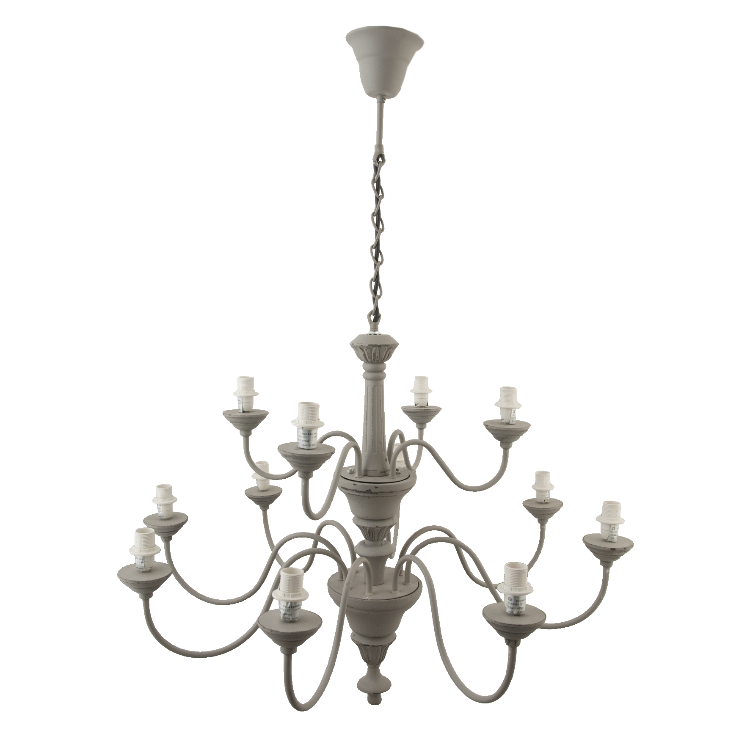Provincial Grey 12 Light Pendant - Allissias Attic  &  Vintage French Style - 1