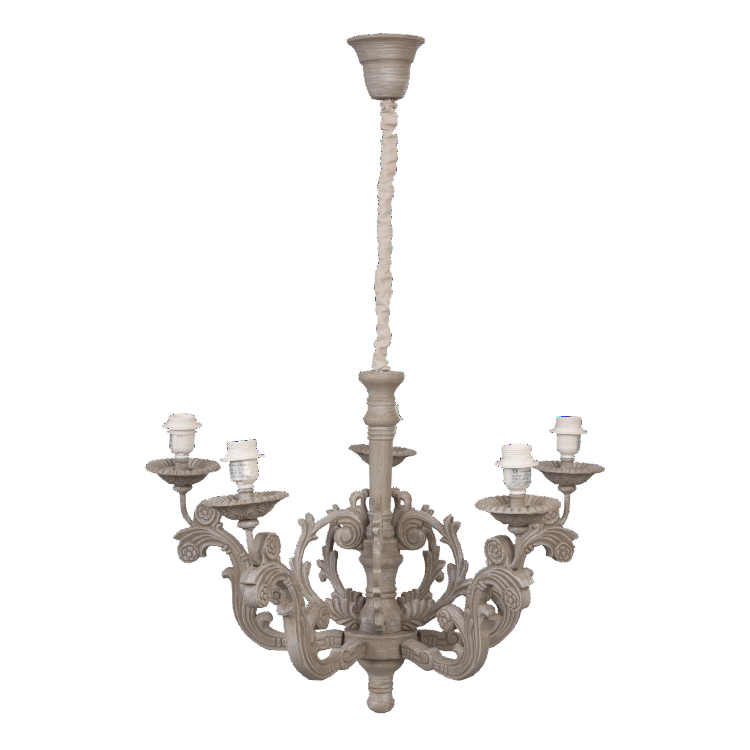 French Vintage Grey Carved Detail Hanging Lamp - Allissias Attic  &  Vintage French Style