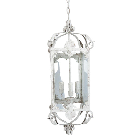 Caged Pendant Light Long - Rustic White - Allissias Attic  &  Vintage French Style