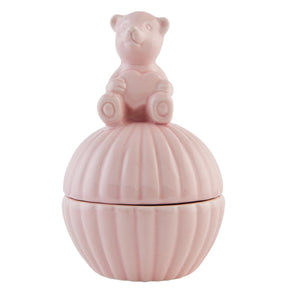 Ceramic Teddy Bowl & Lid - Pink or White