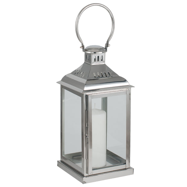 Polished Nickel & Glass Lantern