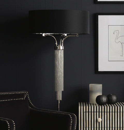 Langan Floor Lamp In Nickel With Black Shade