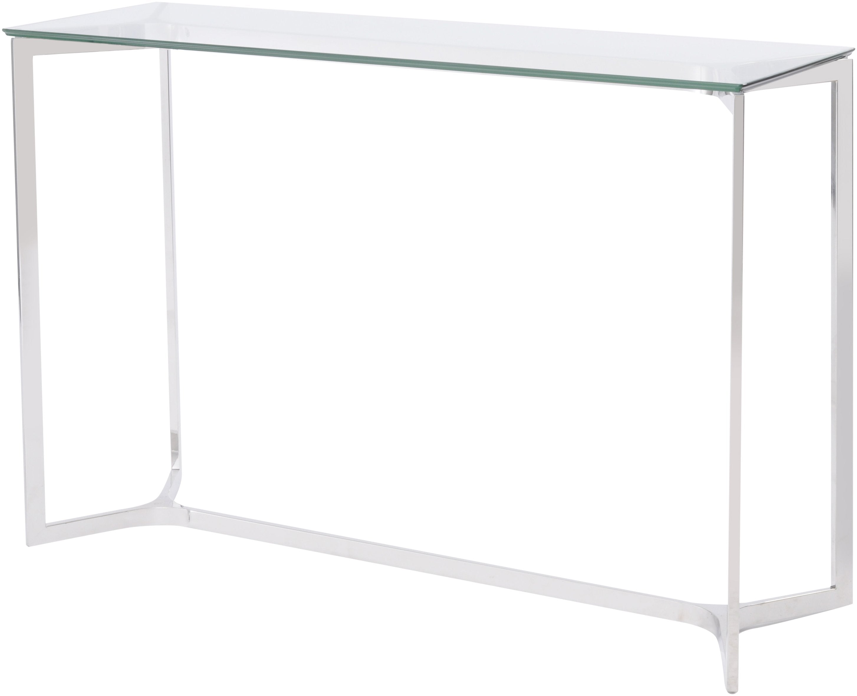 Linton Stainless Steel And Glass Console Table Allissias Attic