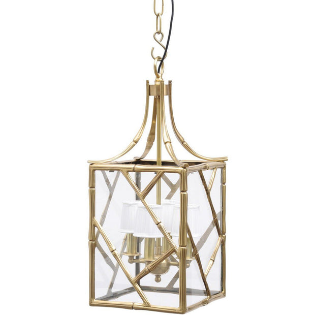 Brass Bamboo Lantern Small With White Shade