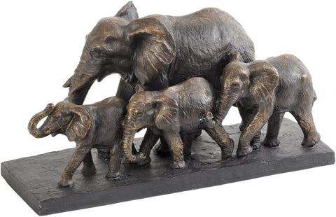 Antique Bronze Parade Of Elephants Sculpture