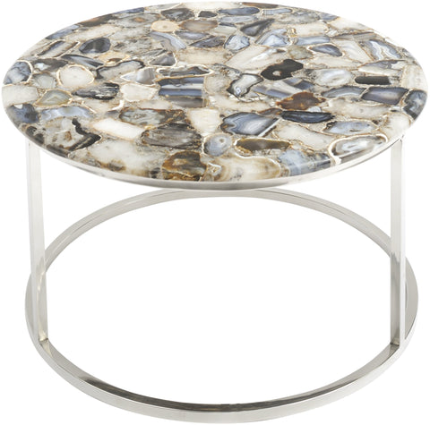 Agate Round Coffee Table On Nickel Frame