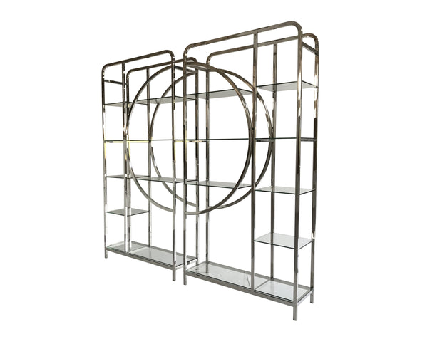 Set of 2 Decadence Gatsby Stainless Steel  Shelving Unit - Gatsby Collection