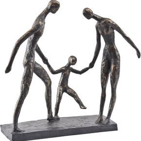 Antique Bronze Family Of Three Holding Hands Sculpture
