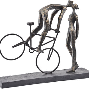 Antique Bronze Kissing Couple On Bike Sculpture