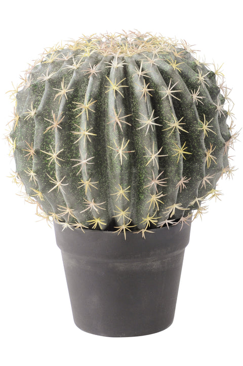 Faux Round Cactus In Pot 34cm