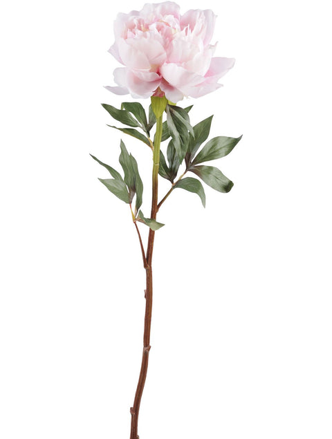 Faux Pink Peony Spray With Leaves 70cm